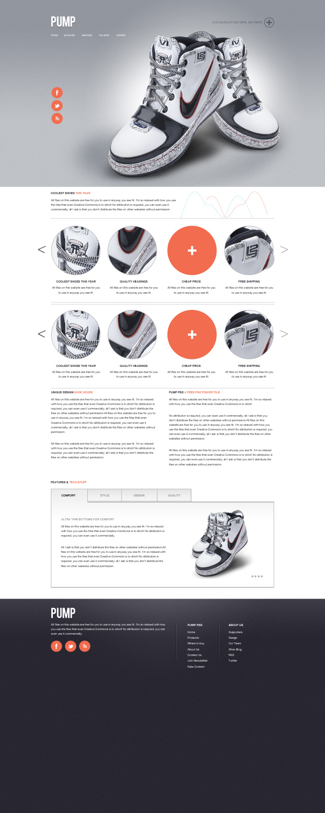 Pump – A free website psd template