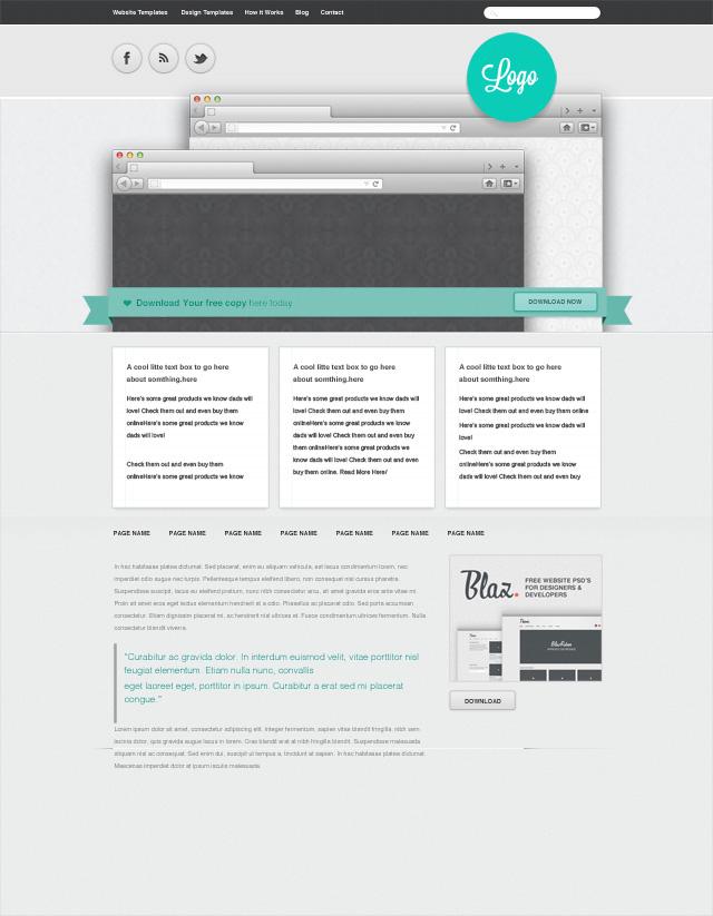 ribbon free website template psd