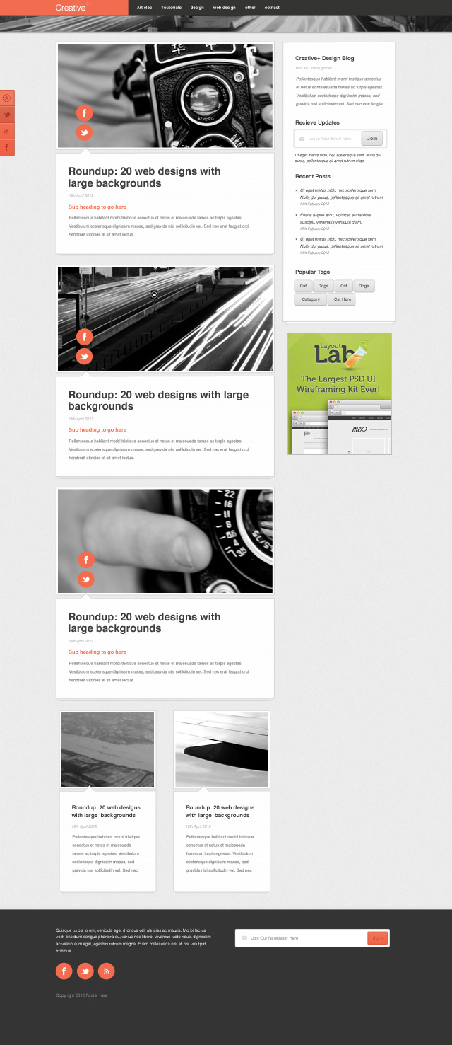 free psd blog template web design
