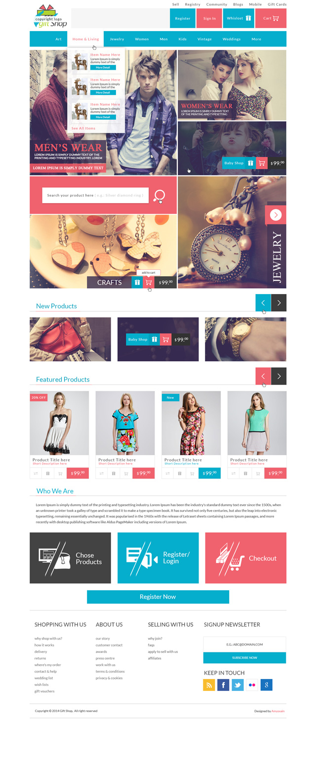 Modern modular gift shop e commerce website psd design for Blueprint websites