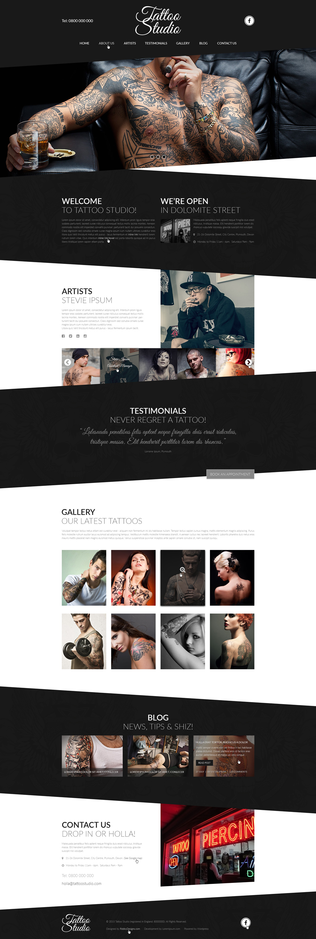 Tattoo Studio PSD Website