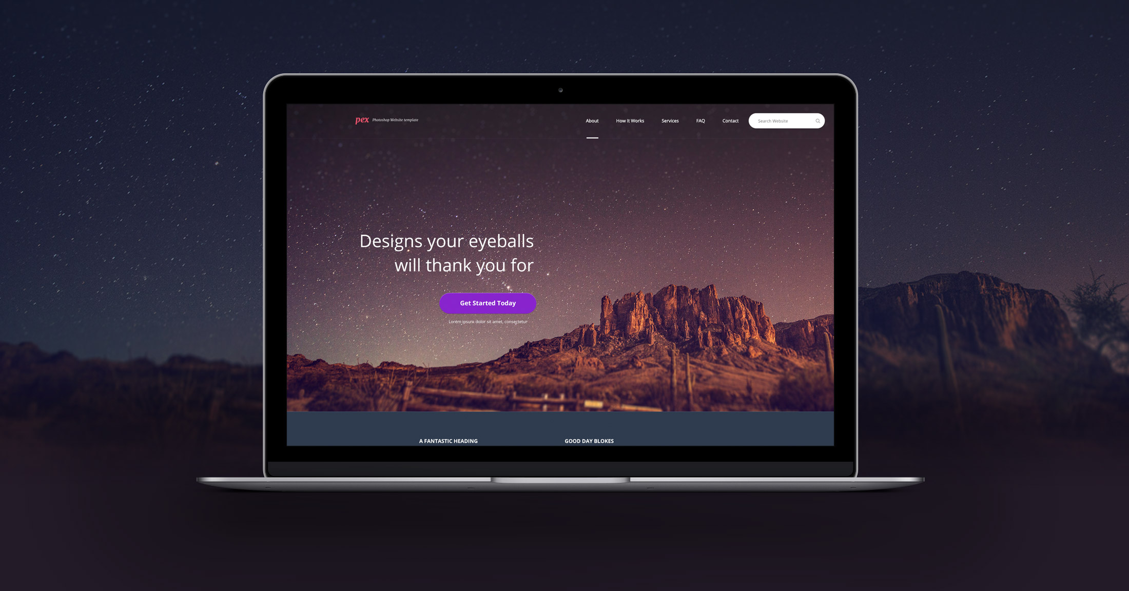 Pex – A free website home page Photoshop PSD