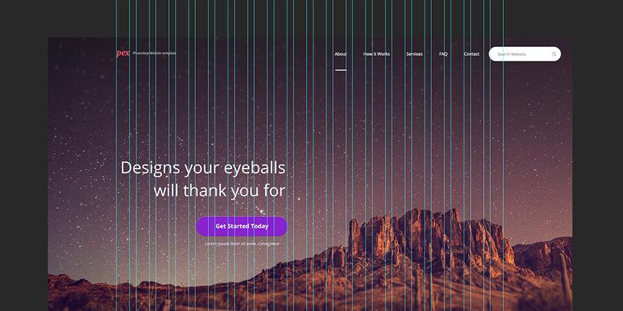 Pex – A free website home page Photoshop PSD