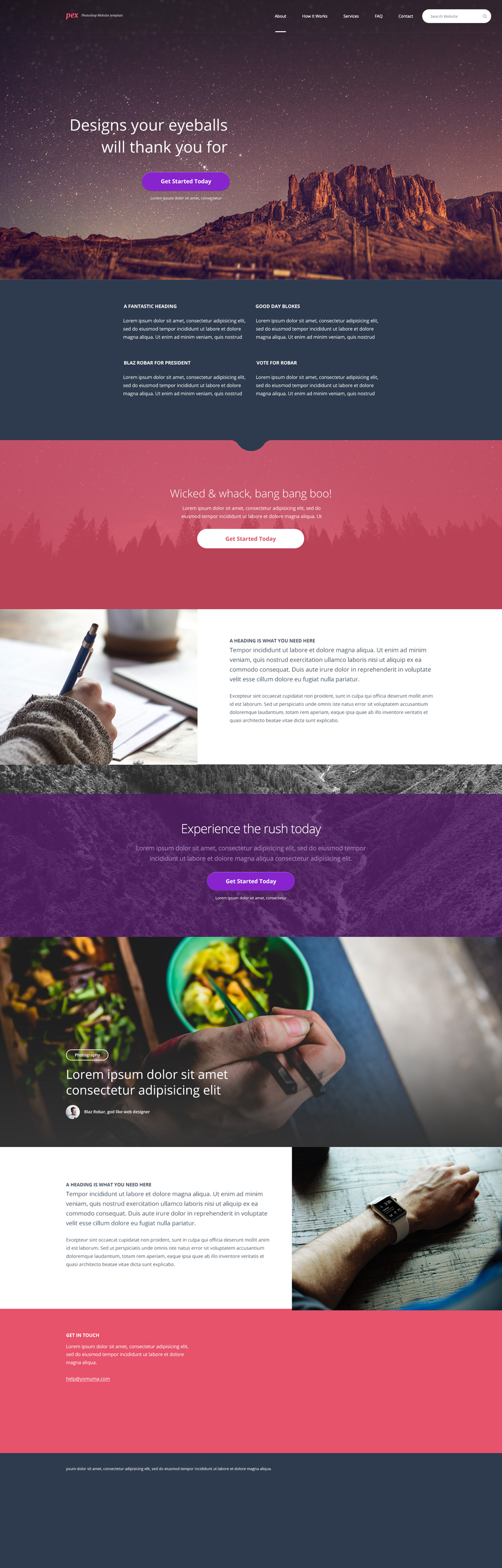 Pex - A free website home page Photoshop PSD