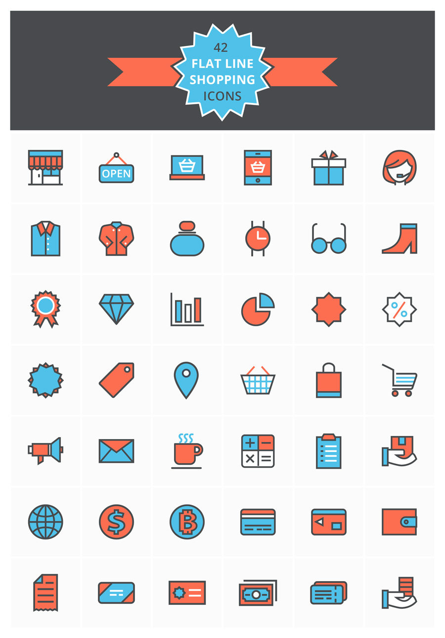 Flat Line Shopping Icon Set