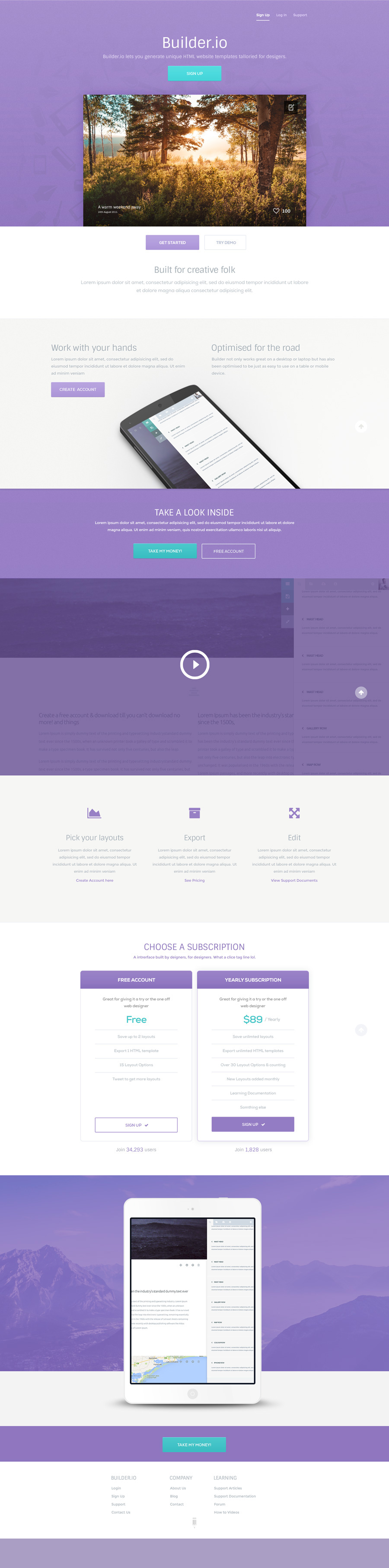 Builder A Free Vibrant Web App PSD Template - Website template builder