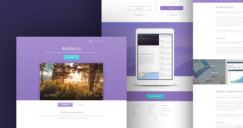 builder a free vibrant web app psd template