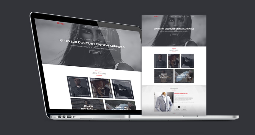 brandly free psd website template - blazrobar, Powerpoint templates