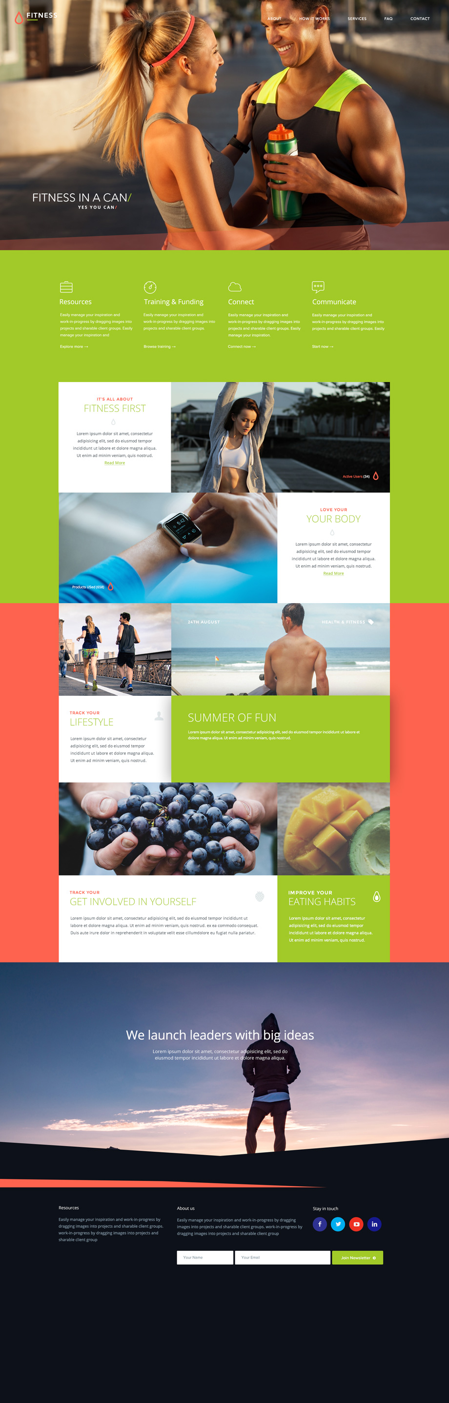 Fitness free Photoshop PSD template - BlazRobar com