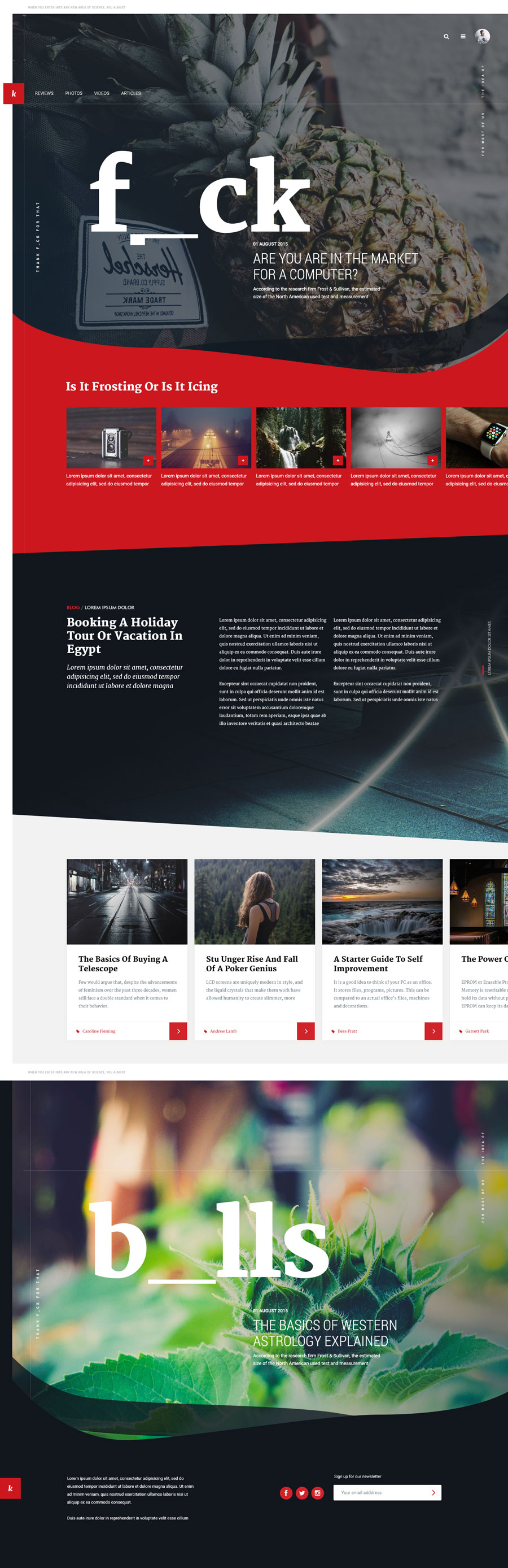 Unique layout for a magazine style website PSD template