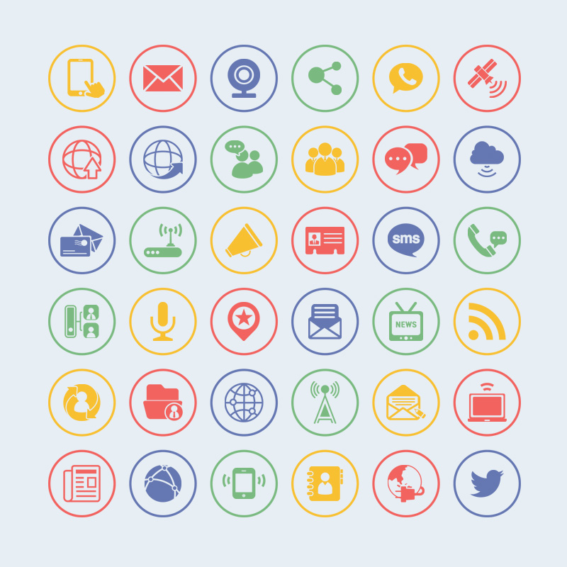36 free vector communication icons