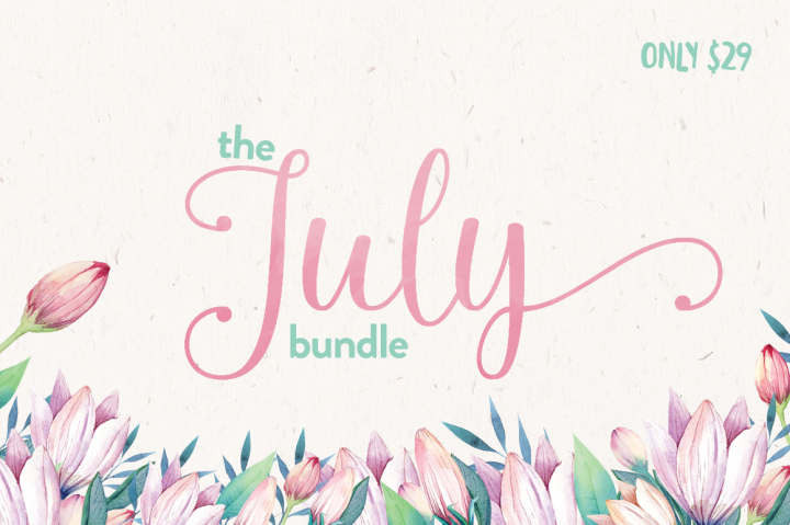 Massive July Font Bundle from Hungry JPEG